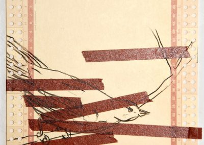 'Silent Observer III' mixed media on punch-card 14,5x21cm 2011
