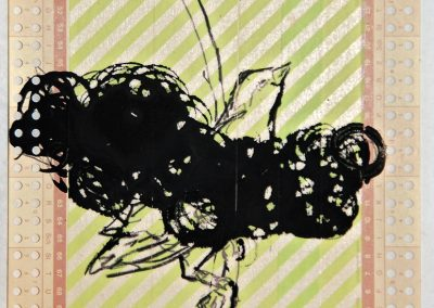 'Silent Observer VI' mixed media on punch-card 14,5x21cm 2011