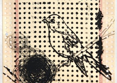 'Silent Observer V' mixed media on punch-card 14,5x21cm 2011