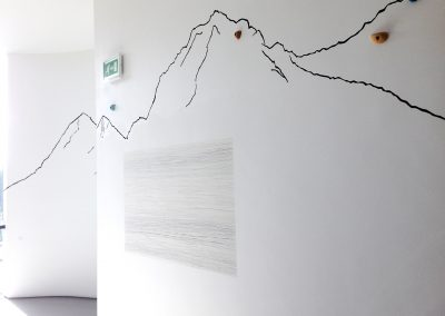 'Lines of Aspiration' a wall installation for Towner Gallery Eastbourne approx 3,50x10m 2016 mixed media on wall