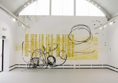 'Inside-Out' a wall drawing for Wysing Arts Centre Cambridge ca.7x4,5m wallpaper casein colour pens etc. 2008